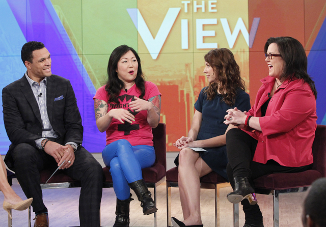 "THE VIEW - Writer Tracey Wigfield (""The Mindy Project"") and Tony Gonzalez guest co-host. Guests include Marion Cotillard (""Two Days, One Night"") and Margaret Cho today Monday, January 5, 2015 on ABC's ""The View."" ""The View"" airs Monday-Friday (11:00 am-12:00 pm, ET) on the ABC Television Network. (ABC/Lou Rocco) TONY GONZALEZ, MARGARET CHO, TRACEY WIGFIELD, ROSIE O'DONNELL"