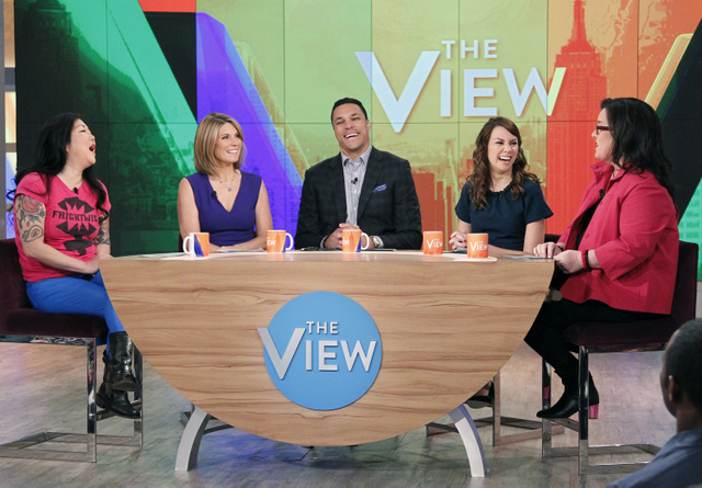 "THE VIEW -  Writer Tracey Wigfield (""The Mindy Project"")  and Tony Gonzalez guest co-host.  Guests include Marion Cotillard (""Two Days, One Night"") and Margaret Cho today Monday, January 5, 2015 on ABC's ""The View.""   ""The View"" airs Monday-Friday (11:00 am-12:00 pm, ET) on the ABC Television Network.     (ABC/Lou Rocco) MARGARET CHO, NICOLLE WALLACE, TONY GONZALEZ, TRACEY WIGFIELD, ROSIE O'DONNELL"
